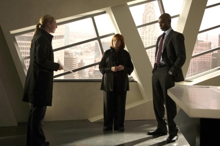 "FRINGE: Agent Dunham (Anna Torv, L) and Agent Broyles (Lance Reddick, R) travel to New York to question Nina Sharp (Blair Brown, C) about a case involving Massive Dynamic in the FRINGE episode ""Of Human Action"" airing Thursday, Nov. 12 (9:00-10:00 PM ET/PT) on FOX. CR: Liane Hentscher/FOX"