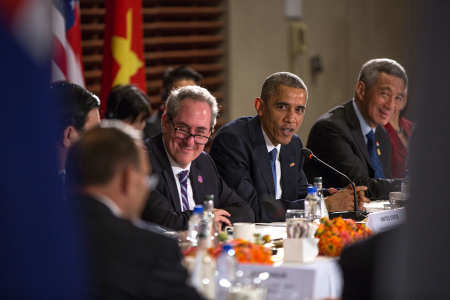 President Barack Obama, with U.S. Trade Representative Mike Froman, delivers remarks during a TPP meeting at the U.S. Embassy in Beijing, China, Nov. 10, 2014. (Official White House Photo by Pete Souza)