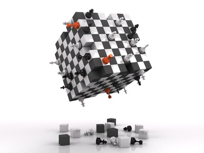 3d chessboard with fighting figures
