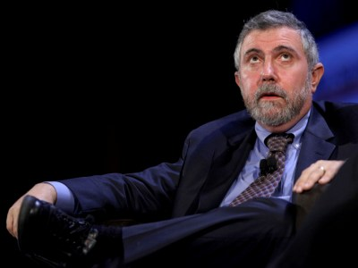 Economist Paul Krugman addresses the World Business Forum at Radio City Music Hall in New York, U.S., on Wednesday, Oct. 7, 2009. The World Business Forum brings together figures from business, political and academic spheres to discuss pressing global issues. Photographer: Craig Ruttle/Bloomberg