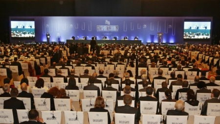 Delegates attend the opening day meeting of the 9th Ministerial Conference of the World Trade Organisation (WTO) in Bali, Indonesia, Tuesday, Dec. 3, 2013. (AP Photo/Achmad Ibrahim)